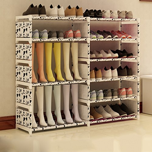 Grand Chaussure Organisateur en Acier Inoxydable Boîte À Chaussures Pliable Organisateur Stockage Stand 6 Rang De Stockage Titulaire pour Bottes Shoes120 * 85 * 30 Cm (Couleur : Blanc)