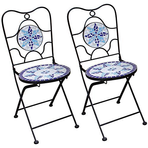 Deuba Mosaikstühle Neptun 2er Set I Klappbar I Sitzhöhe 45cm I Metall Stabil Mosaik I Balkonstuhl Gartenstuhl Klappstuhl
