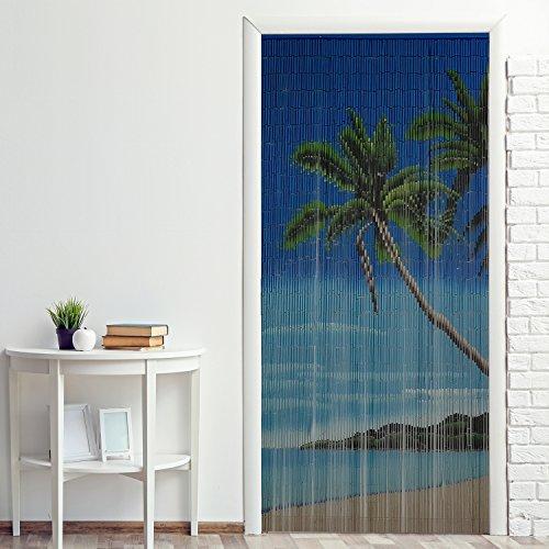 Power-Preise24 Bambus Türvorhang Nature 90 x 200 cm bunter Raumteiler mit 65 Strängen aus Bambus mit beidseitigem Naturmotiv Bambusvorhang zum Aufhängen, Motiv:Lagune