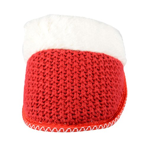 Autumn Faith Valentina Pantoufles en tricot avec fausse fourrure doublure et semelle antidérapante pour femme Rouge