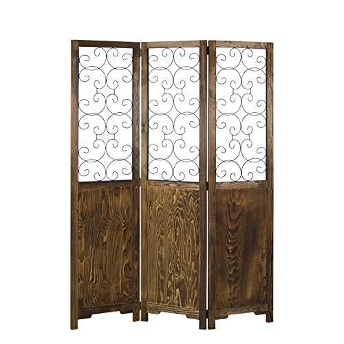 Homestyle4u 1819, Paravent Raumteiler 3 teilig, Holz Mit Metall, Braun Schwarz