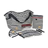 Lässig Casual Twin Bag Zwillings-/Wickeltasche mit verstellbarem Schultergurt inkl. Wickelzubehör, Striped Zigzag navy
