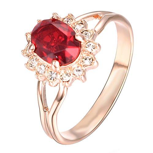 Yoursfs Bague rouge 50mm 18k Or rose plaqué Solitaire en Rubis ovale et Strass pour Maman comme cadeau de Saint Valentin Anniversaire Mariage