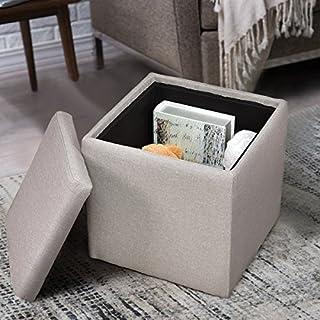 COSTWAY Sitzhocker mit Stauraum Sitzwürfel Sitzbox Sitzbank Aufbewahrungsbox Ottomane Polsterhocker Leinen 40x40x40cm