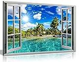 Kunstdruck, Motiv Karibik-Strand 3D-Fenster-Effekt, Leinwand-Bild, A1 76x51 cm (30x20in)