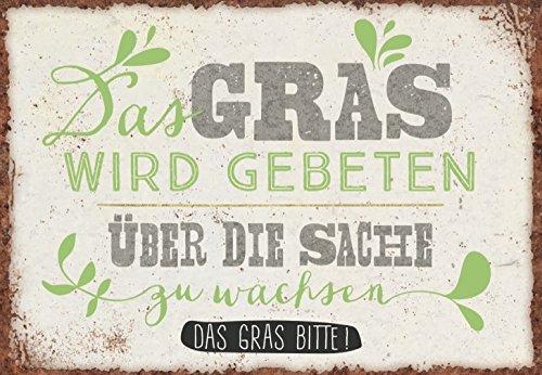 DeCoArt... Magnet Das Gras Wird gebeten über die Sache zu wachsen. Das Gras Bitte! ca. 8 x 5,5 cm - Wachsen Kühlschrank