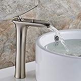 Aimadi Waschtischarmatur Wasserfall Wasserhahn Bad Mischbatterie Badarmatur Waschbeckenarmatur Waschbecken Badezimmer Hoch Gebürsteter Nickel