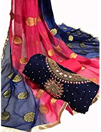 Blue Wish Women's Ethnic Wear Chanderi Cotton Multi-Coloured Salwar Suit With Heavy Dupatta For Women And Girls