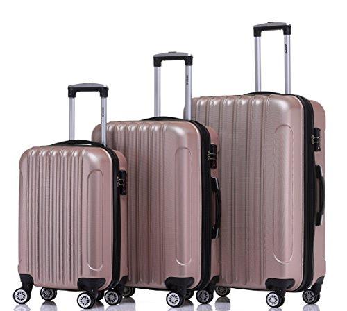 BEIBYE TSA Schloß Zwillingsrollen 2050 Hartschale Trolley Koffer Reisekoffer in M-L-XL-Set in 12 Farben (Rosa Gold, Kofferset+TSA Schloß)