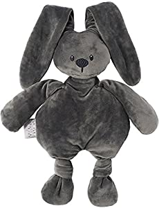 Nattou  Lapidou Conejo de peluche , Compañero desde el nacimiento, 36 cm, Gris antracita