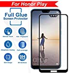 #9: FASHIONISTA Full Glue Honor Play Full Coverage 5D Tempered Glass, Full Edge-to-Edge 5D Screen Protector -Black (Pack of 1)