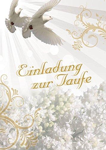 Einladungskarten Taufe für Junge und Mädchen mit Innentext Motiv weiße Tauben 10 Klappkarten DIN A6 mit weißen Umschlägen im Set Taufekarten mit Kuvert Einladung Taufe Mädchen Junge (K24)