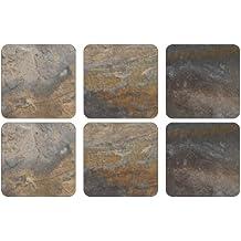 Pimpernel - Juego de 6 posavasos (10,5 x 10,5 cm, tablero de densidad media, base de corcho), diseño de pizarra, color terrosos