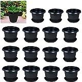spylark Plastic Planter Pots With Bottom Tray, Multicolour, 6inch, 15 Pieces