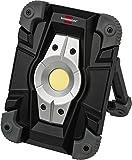 Brennenstuhl Akku LED Arbeitsstrahler/LED Strahler Akku (Außenleuchte 10 Watt, Baustrahler IP54, Fluter Tageslicht) schwarz/grau