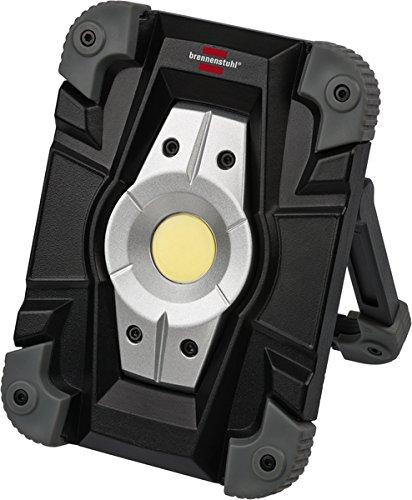 Brennenstuhl Akku LED Arbeitsstrahler/LED Strahler Akku (Außenleuchte 10 Watt, Baustrahler IP54, Fluter Tageslicht) schwarz/grau - Drei-licht-post-lampe