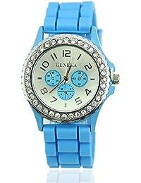 HeroNeo® Nuevas mujeres chica Lady Ginebra silicona Jelly muñeca reloj de cuarzo piedras de cristal, azul claro