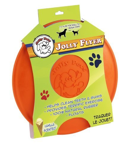 Jolly Pets 9-1/2-Inch Jolly Flyer Rubber Floating Disc, Orange by Jolly Pet -