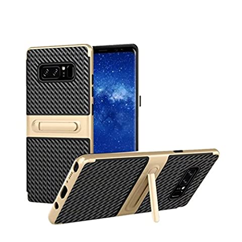 wuayi Shockproof Hybrid TPU + PC Full Cover Case Protector Stand For Samsung Note 8 (Gold)