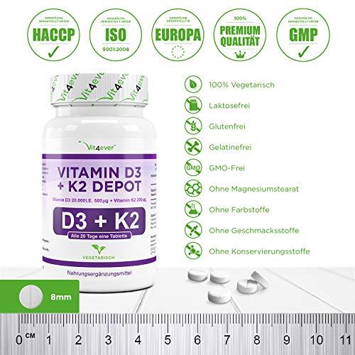 Vitamin D3 20.000 I.E + Vitamin K2 200mcg Menaquinon MK7 Depot – 100 Tabletten – 20 Tagesdosis 1000 I.E. D3 pro Tag – Alle 20 Tage eine Tablette, Vegetarische Tabletten, Vit4ever - 4