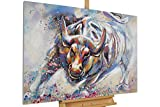 KunstLoft® Acryl Gemälde 'Zum Angriff' 120x80cm | original handgemalte Leinwand Bilder XXL | Tier Stier Stolz Rot | Wandbild Acrylbild moderne Kunst einteilig mit Rahmen