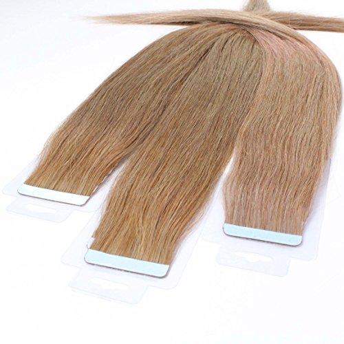 hair2heart 10 x 2.5g Tape In Echthaar Extensions, 40cm - glatt - #14 dunkelblond -