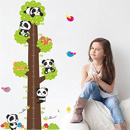 Mznm Panda Vögel Höhe Messen Wall Sticker Für Kinder Zimmer Wachstumsdiagramm Home Decor Tiere Wand Aufkleber Wandmalerei Kunst Pvc-Cartoon Poster