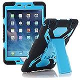 Meiya iPad Air 2 Coque,New Robuste Rsistant aux Chocs salet Neige Sable Proof Survivor Extreme Heavy Duty Etui iPad Air 2 Enfant Cadeau Pochette pour iPad Air 2 iPad 6(Noir+Bleu)