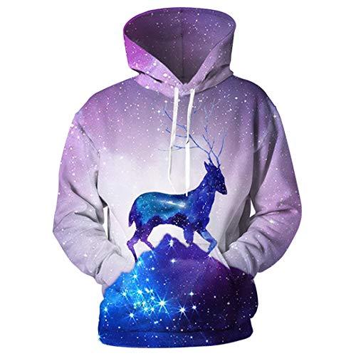 SWETHENG Plusgrößen-Raum-Galaxie-Kapuzenpullis-3D Männer-Frauen mit Kapuze Hoodies Photo Color XL