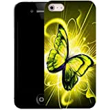 Mobile Case Mate iPhone 5c clip on Silicone Coque couverture case cover Pare-chocs + STYLET - YELLOW TWIRL BUTTERFLY pattern (SILICON)