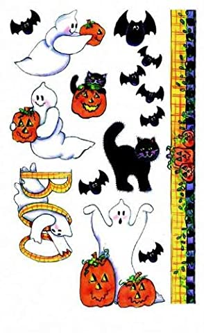 Rub-On Transfer - Halloween, Bats, Cats, Ghosts, 23x14cm