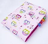 Amilian® Kuschlige Babydecke FLAUSCHIG Decke Kinderdecke Babydecke 75x100 Kuscheldecke Eule Rosa