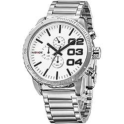 Alienwork Quartz Watch XXL Oversized Wristwatch Water Resistant 3ATM Metal white silver OS.WH-3310-2