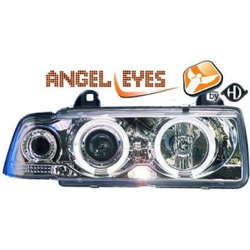 PHARES TUNING ANGEL EYES CHROM BMW E36 COUPE / CABRIOLET d'occasion  Livré partout en Belgique