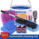 9Pcs/Set Vehicle Cleaning Kit to Wash Car Exterior &Amp; Interior Home Cleaning Kit Microfiber Towels Cleaning Kit : Russian Federation