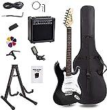 Display4top Kit per Chitarra Elettrica con amplificatore da 20 Watt, supporto per chitarra, borsa, plettro per chitarra, cinturino, corde di ricambio, accordatore, custodia e cavo (Nero bianco)