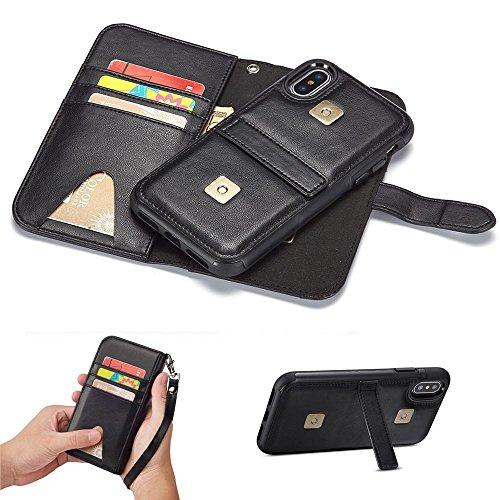 Für iPhone X Brieftasche Hülle, Kobwa Abnehmbare Magnetische Hülle Lederhülle mit Handgelenkband, Kartenfach & Standfunktion Für Apple iPhone X / iPhone 10 Schwarz