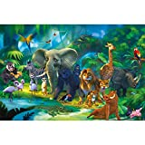 GREAT ART Jungle Animaux Papier Peint de Photo - Safari Tableau Mural - XXL Jungle Déco Mural Chambre d'enfant Papier Peint by (140 x 100 cm)