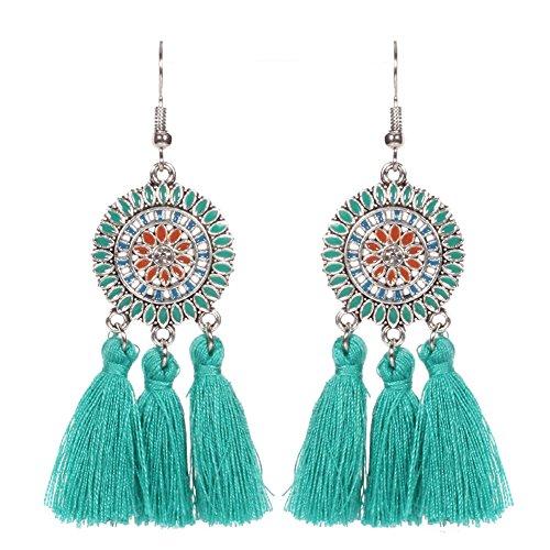 SODIAL(R) New Sun Flower Tassels Earrings Retro National Wind Earring Black kbDStOfaQI