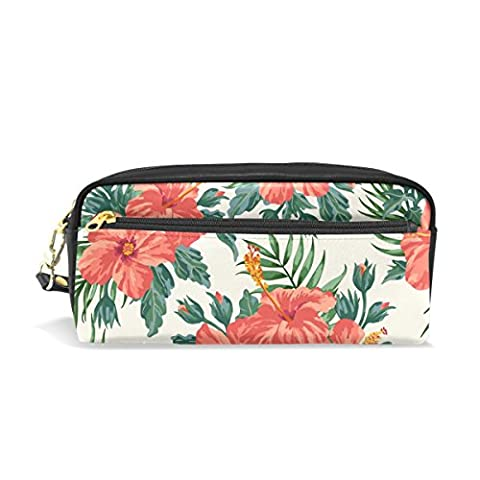 Bennigiry Tropical Hawaiian Plumeria And Hibiscus Flowers Pencil Case Portable Pen Organizer Bag PU Leather Large Capacity