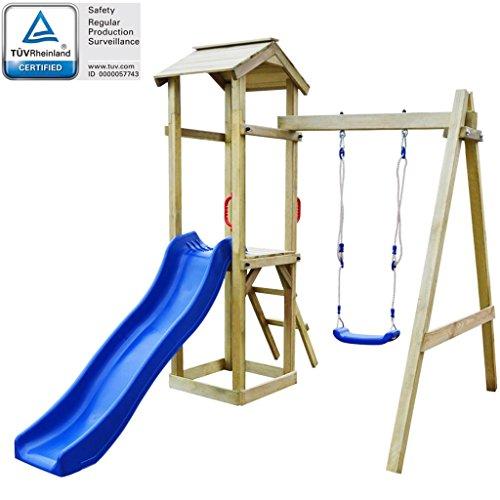 hobby e sport Casa Giochi con Scivolo scaletta e Doppia Altalena per Bambini in Legno Pino