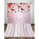 Coloc Photo® 150*300cm coeurs rouges de bois plancher en le tissu de l'art photographie décors nouveau-nés Portrait fond de saint - valentin DropD-9391