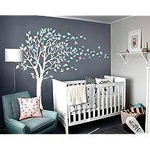 Sayala Grand Arbre Stickers Muraux   Autocollant Fleurs Papillon Decal    Diy Maison Mural Bleu Arbre