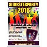 Einladung zur Silvester Clubparty für Gruppen, Vereine, Club's, Kneipen und private Silvestereinladungen, 50 Karten - 17 x 12 cm