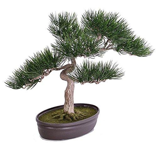 artplants Künstlicher Bonsai Pinie Arata in Dekoschale, grün, 45 cm – Kunstbaum/Bonsai Kunststoff