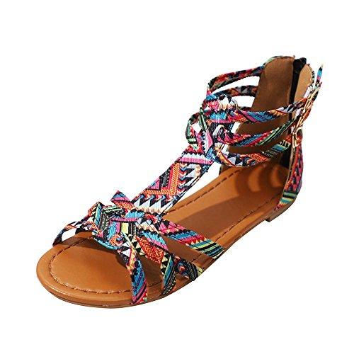 Chenang grande promozione!!sandali infradito donna, donna sandalo basso fascia,donne scarpa sandali, degli appartamenti di stile etnico sandali della cinghia dei fermagli (40 eu, rosa)