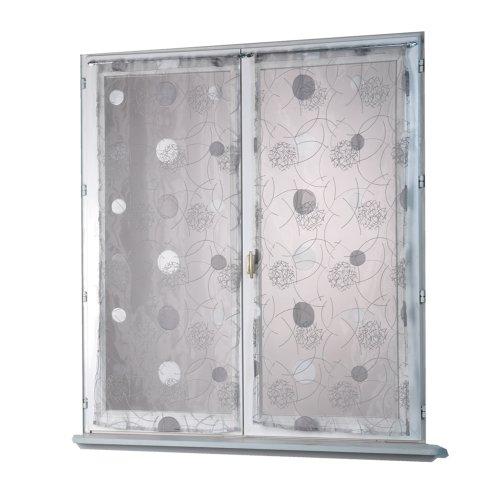 Homemaison HM69812818 - Tenda a vetro in organza ricamata con motivo luna, 80 x 160 cm, colore grigio
