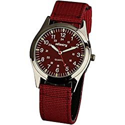INFANTRY® Mens Analogue Quartz Wrist Watch Lume Army Red Dial Sport Nylon Fabric Strap