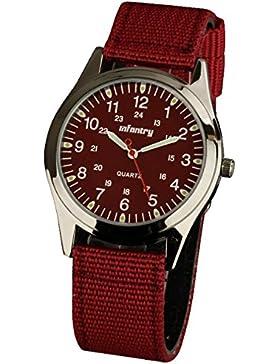 INFANTRY® Herren Analoges Quarzwerk Armbanduhr Outdoor Quarzuhr Armee Militär Rot Nylon Uhrarmband 20mm