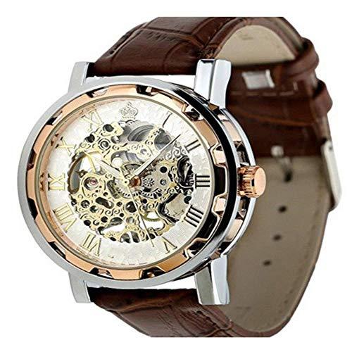 AK Reloj Ultrafino Manual de maquinaria Hueca Retro Reloj mecánico Manual Reloj de Correa para Hombre...